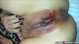 Asian slut gets fucked during her menstruation
