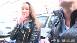 Amirah Adara fucked in public behind the one-way mirrored box -