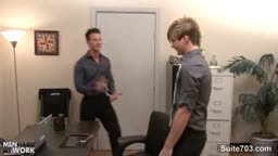 Excited gays banging asses in the office