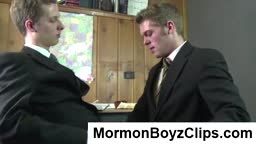 Young Mormon gays in suits sucking cock