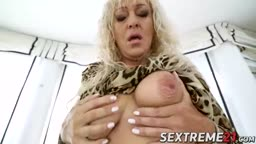 Hot blonde granny Magdi gets pussy pounded by latino dude