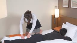 Subtitled Japanese hotel massage leads to blowjob in